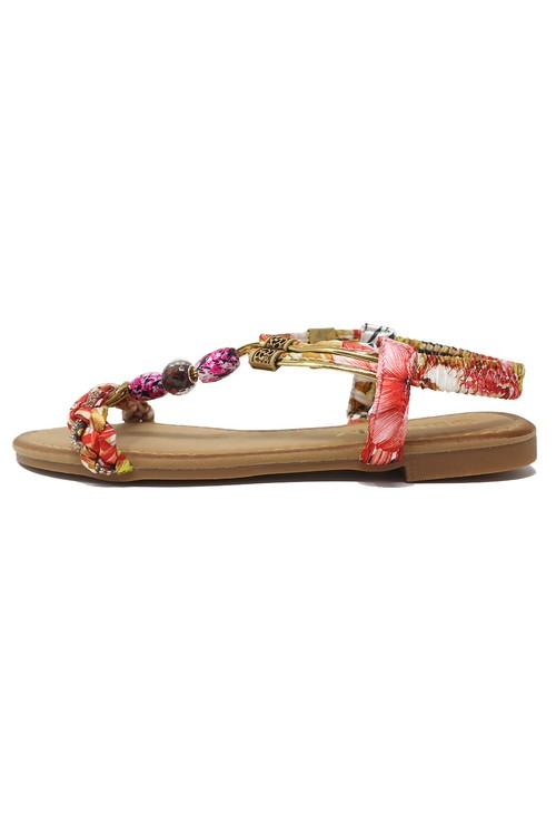 Shoe Lounge Red Multi coloured T Strap Sandal