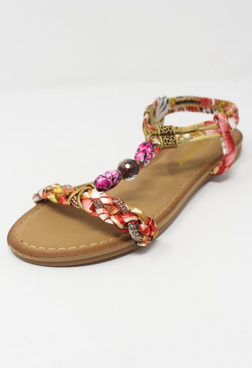 Shoe Lounge Red Multi coloured T Strap Sandal