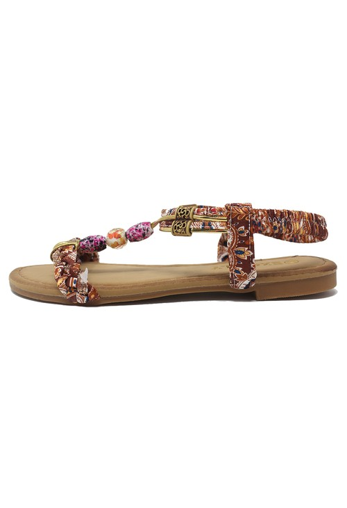 Shoe Lounge Tan Multi coloured T Strap Sandal