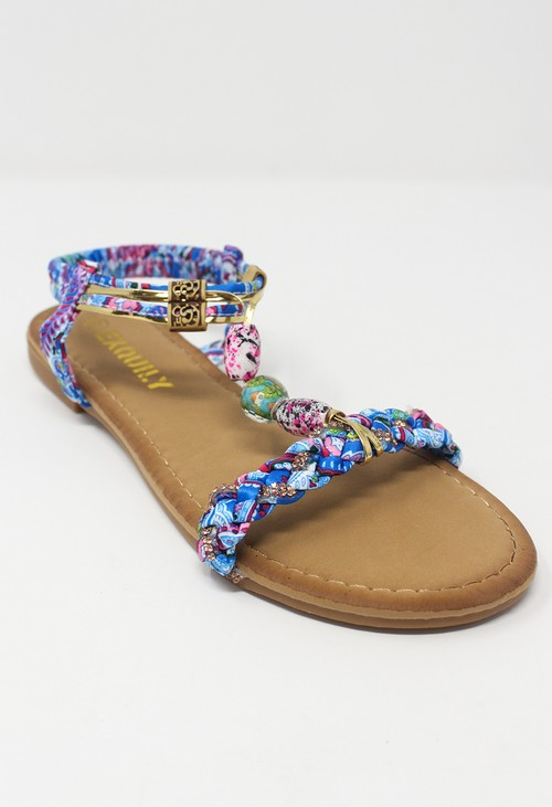 Shoe Lounge Blue Multi coloured T Strap Sandal