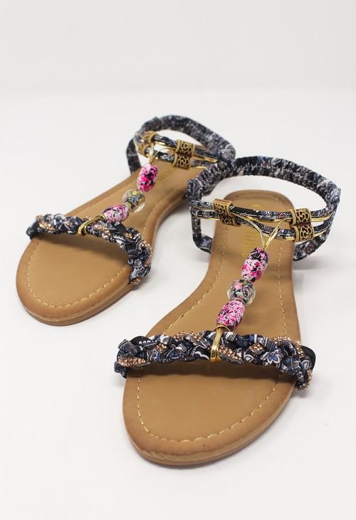 Shoe Lounge Black Multi coloured T Strap Sandal