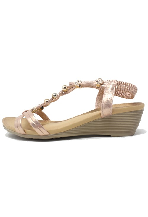 Shoe Lounge Rose Gold Mid Wedge T Strap Sandal