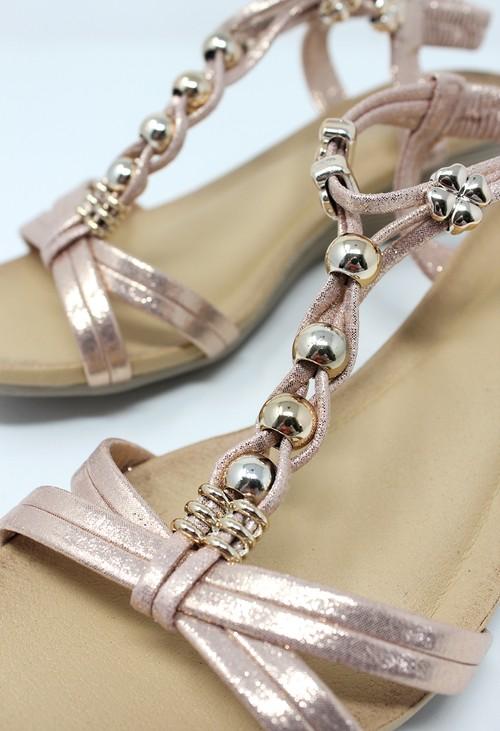 Shoe Lounge Rose Gold Mid Wedge T Strap Sandal