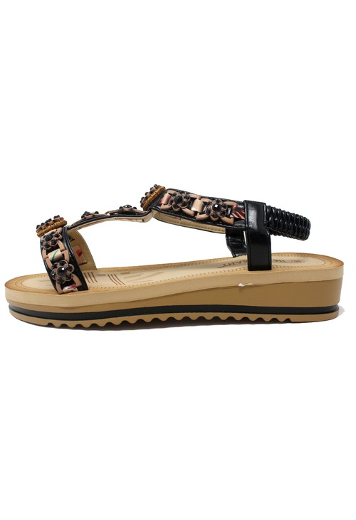 Shoe Lounge Black and Gold Wedge Sandal