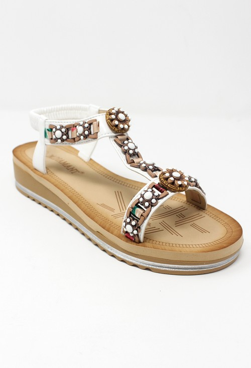Shoe Lounge White and Gold Wedge Sandal