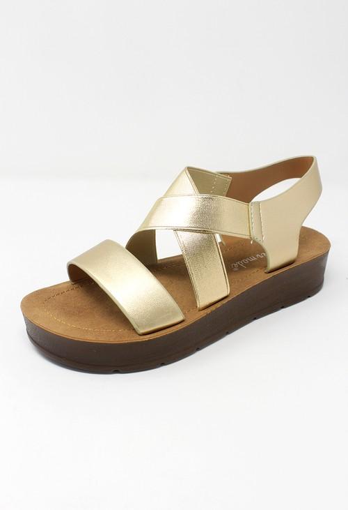 Shoe Lounge Gold Cross-strap Sandal