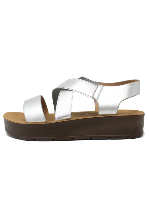Shoe Lounge Silver Cross-strap Sandal