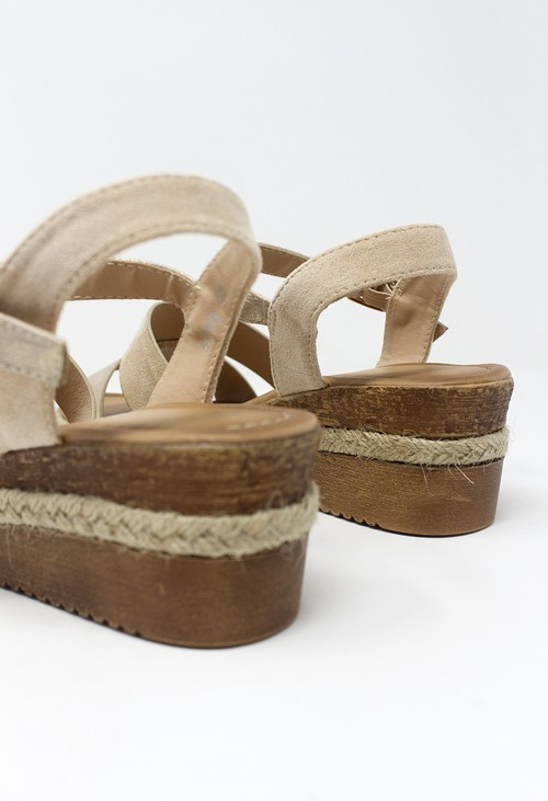 Shoe Lounge Beige Mid-Wedge Strap Sandal