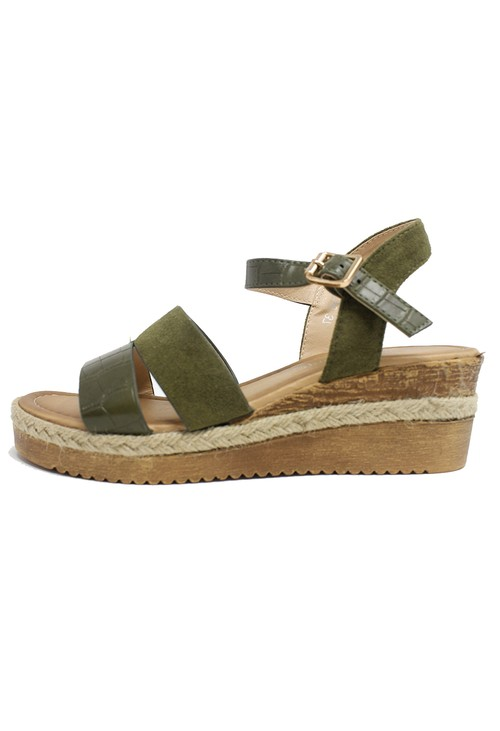 Shoe Lounge Olive Mid-Wedge Strap Sandal