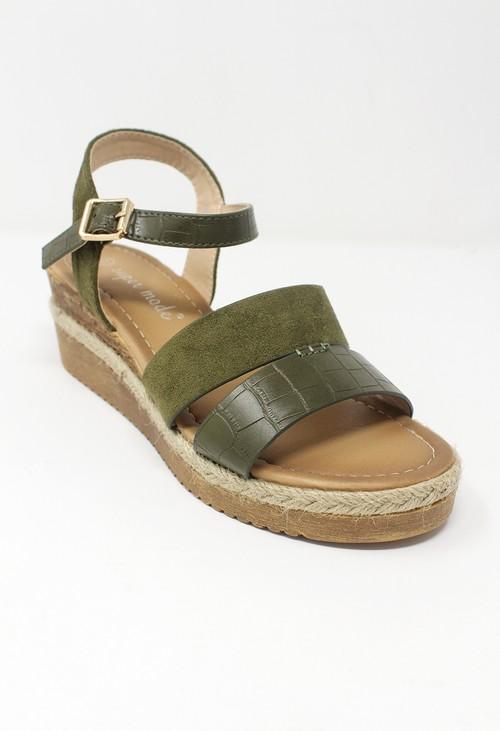 Shoe Lounge Olive Mid-Wedge Strap Sandal