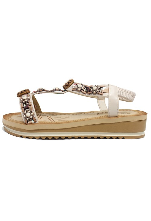 Shoe Lounge Beige and Gold Wedge Sandal