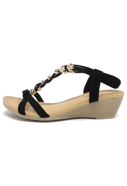 Shoe Lounge Black Mid Wedge T Strap Sandal