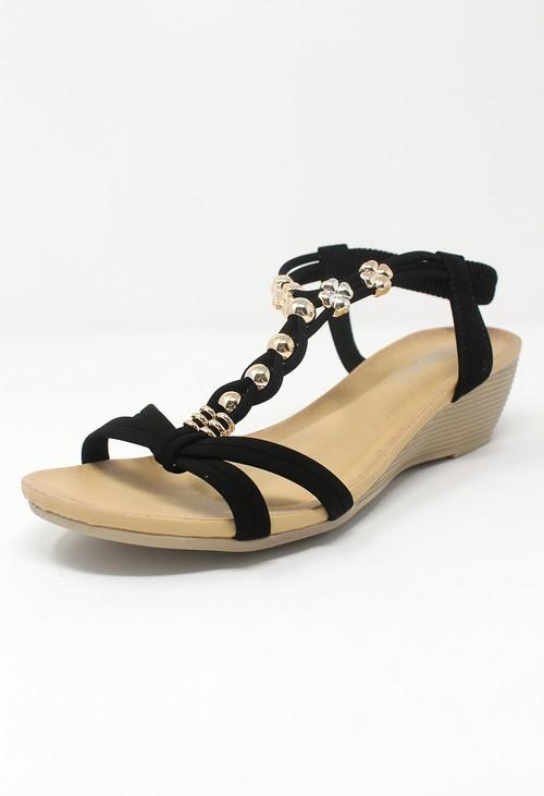 Shoe Lounge Black Mid Wedge T Strap Sandal