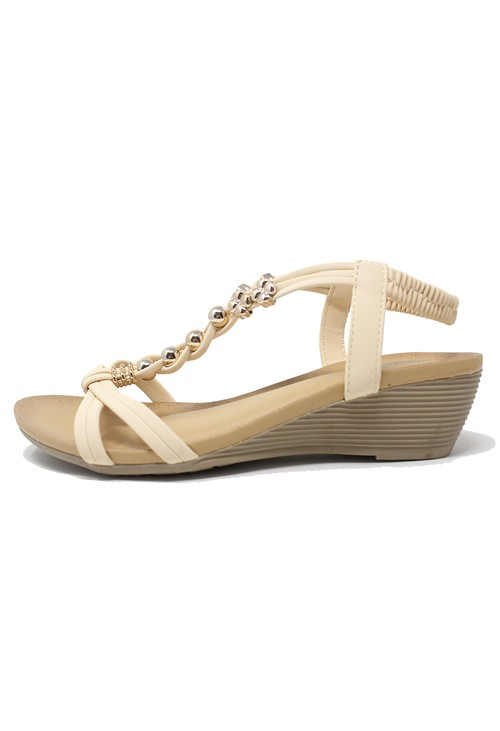 Shoe Lounge Beige Mid Wedge T Strap Sandal