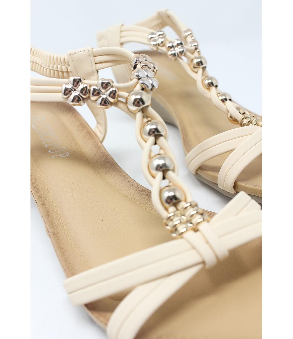 Shoe Lounge Beige Mid Wedge T Strap Sandal