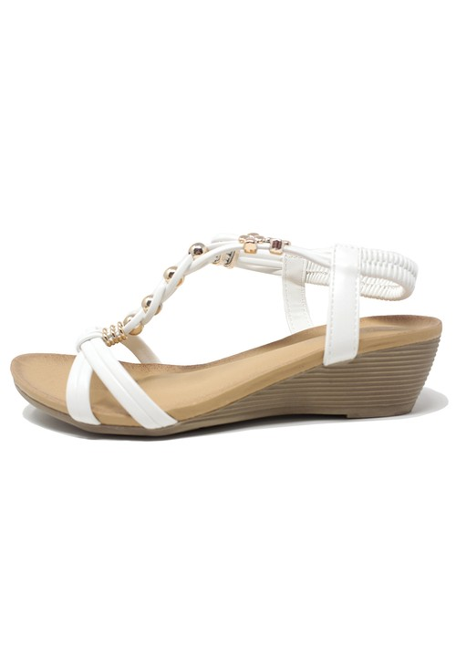 Shoe Lounge White Mid Wedge T Strap Sandal