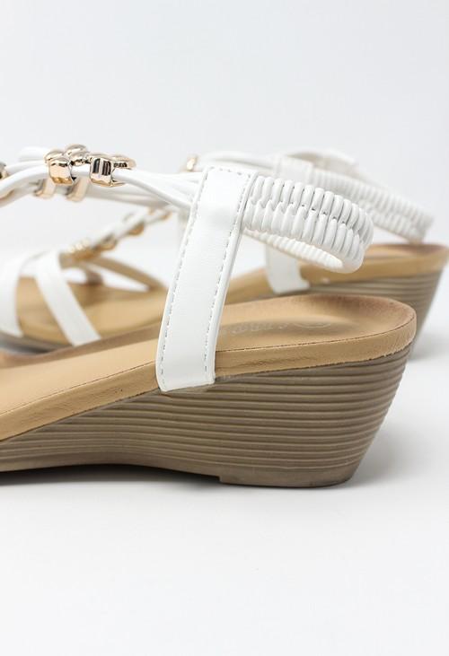 Shoe Lounge White Mid Wedge T Strap Sandal