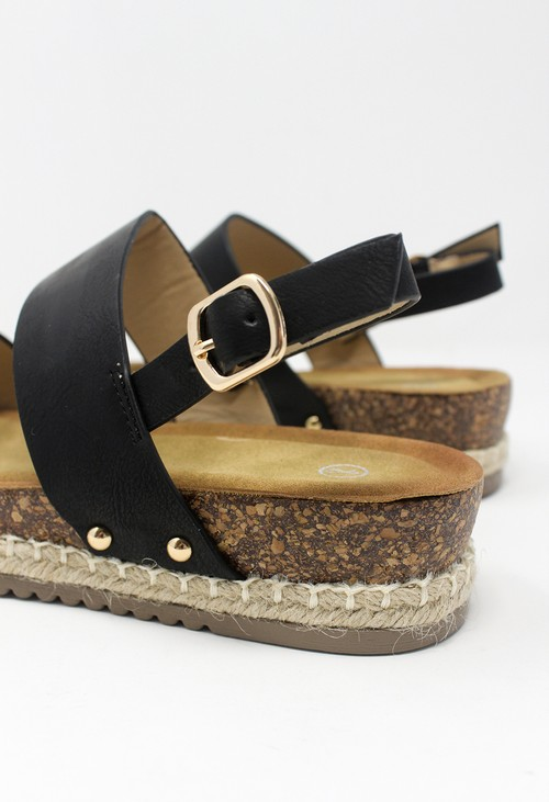 Shoe Lounge Black Cork Look Wedge Sandal