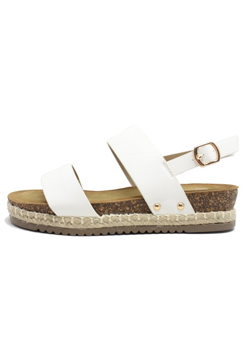 Shoe Lounge White Cork Look Wedge Sandal