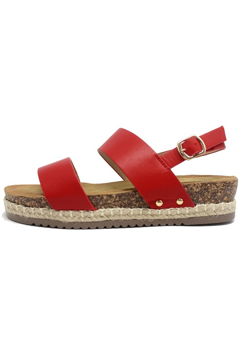 Shoe Lounge Red Cork Look Wedge Sandal
