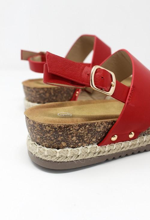 Shoe Lounge Red Cork Look Wedge Sandal