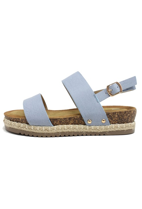 Shoe Lounge Blue Cork Look Wedge Sandal