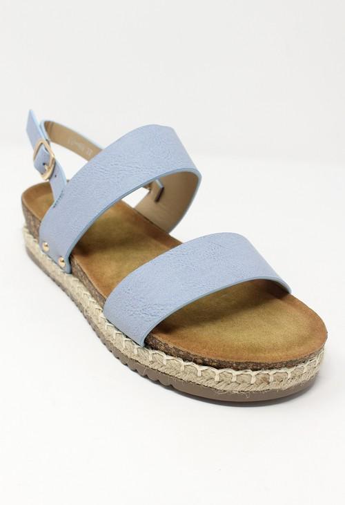 Shoe Lounge Blue Cork Look Wedge Sandal