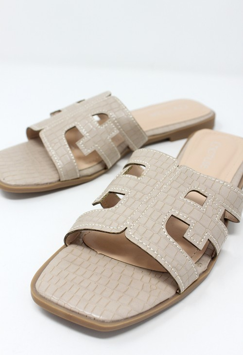 Shoe Lounge Beige Flat Slide