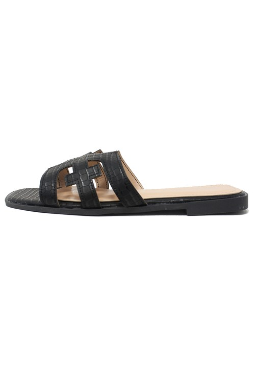 Shoe Lounge Black Flat Slide