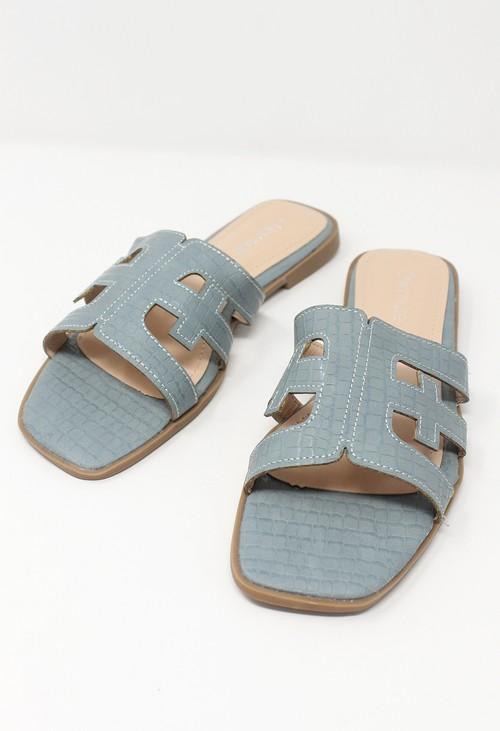 Shoe Lounge Light Blue Flat Slide