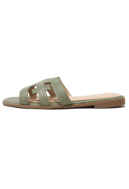 Shoe Lounge Green Flat Slide