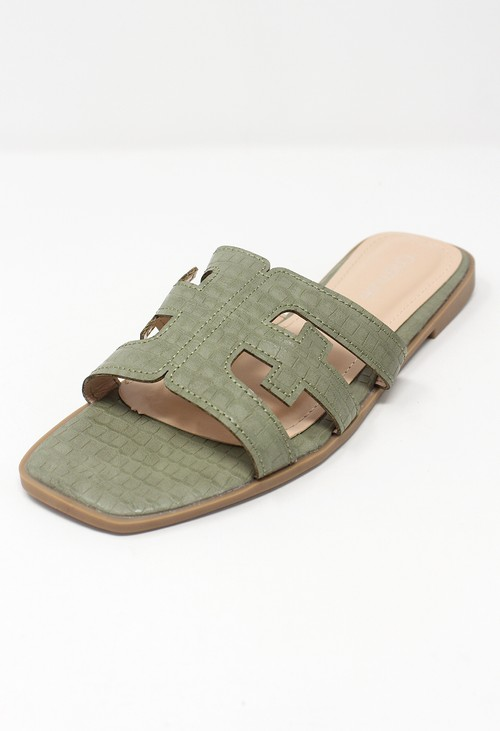 Shoe Lounge Green Flat Slide