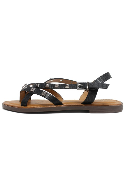 Shoe Lounge Black Flat Strap Sandal