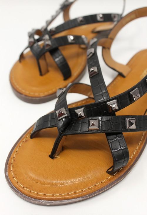 Shoe Lounge Black Flat Strap Sandal