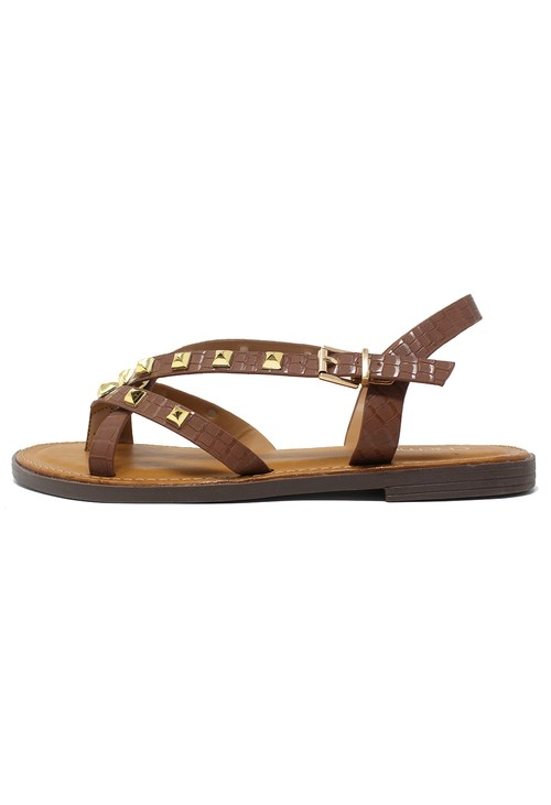 Shoe Lounge Tan Flat Strap Sandal