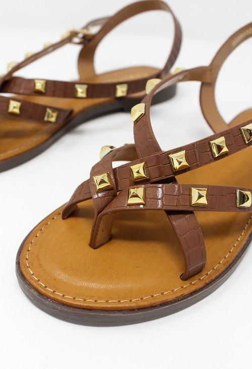 Shoe Lounge Tan Flat Strap Sandal