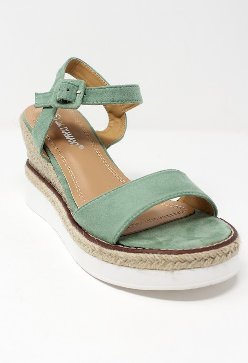 Shoe Lounge Green Double Sole Wedge Sandal