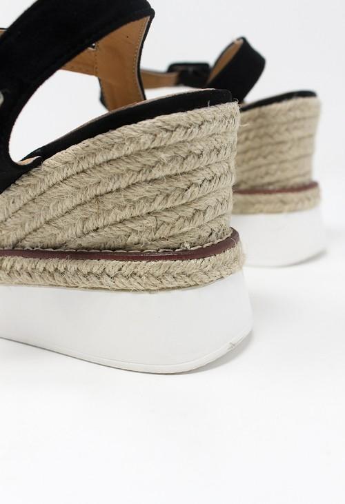 Shoe Lounge Black Double Sole Wedge Sandal
