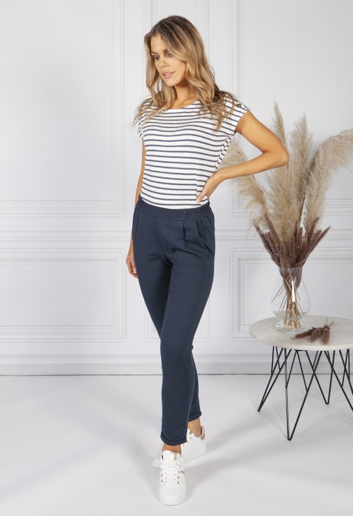 Zapara Striped Top with Gold Button Detailing