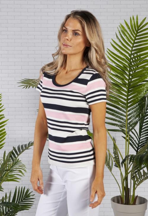 Twist Navy and Pink stripe top