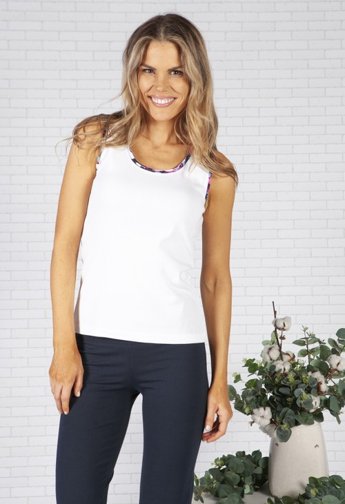 Pamela Femme Bordered White Tank Top