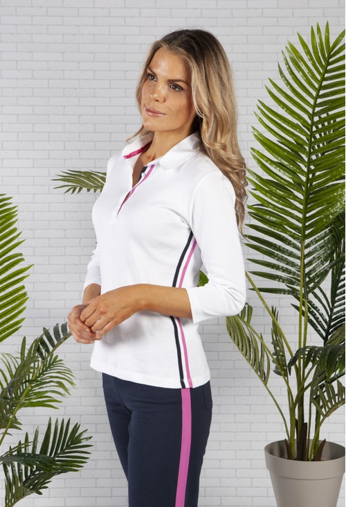 Pamela Femme White Striped Polo Shirt