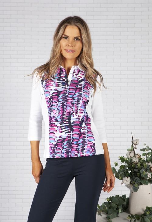 Pamela Femme Multi Print Polo Shirt