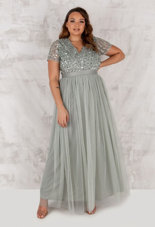 Maya SAGE V NECK SEQUIN AND TULLE DRESS WITH TIE WAIST