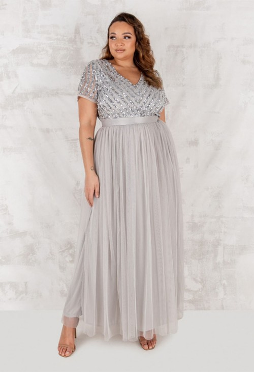 Maya SOFT GREY V NECK SEQUIN AND TULLE DRESS WITH TIE WAIST