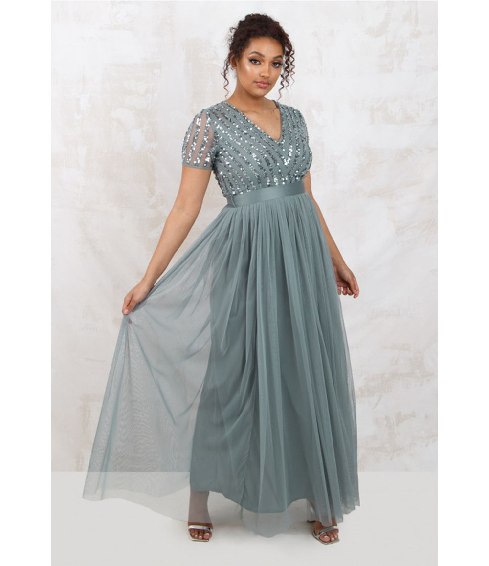 Maya MISTY GREEN V NECK SEQUIN AND TULLE DRESS WITH TIE WAIST