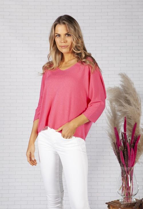 Pamela Scott Oversized Pullover Knit in Fuchsia