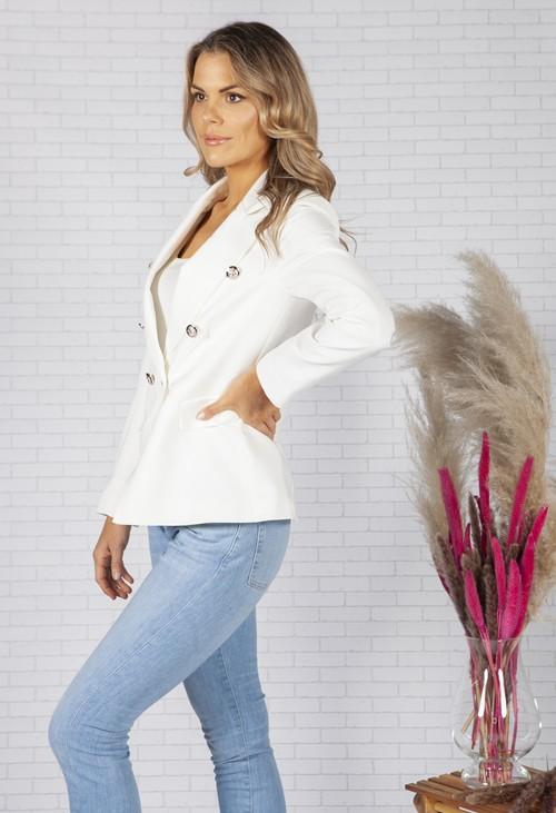 Pamela Scott Cream double breasted blazer