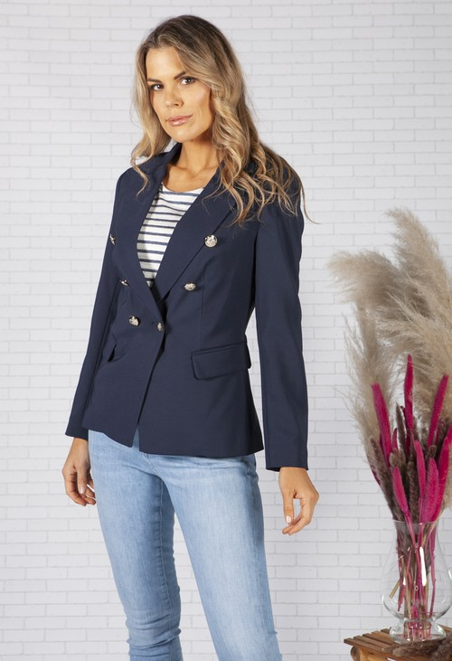 Pamela Scott Classic Navy Double Breasted Blazer