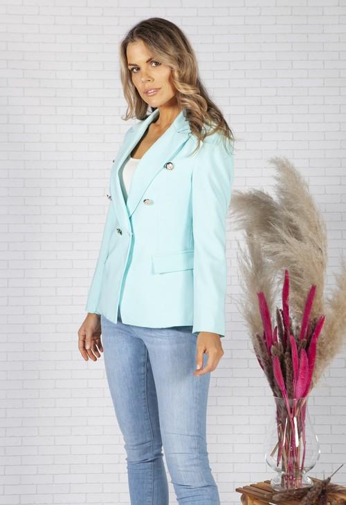 Pamela Scott Turquoise double breasted blazer
